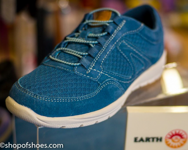 Ultra lightweight blue suede leather elastic faux laced casual leisure shoe.